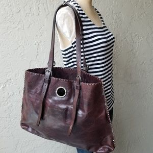 Henry Beguelin Brown Large Distressed Leather Bag